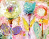 Whisper Blooms - mixed media art print by Mindy Lacefield