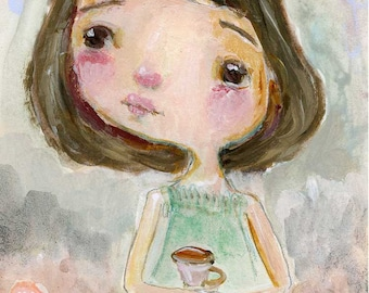 Tea in the Garden  - art print by Mindy Lacefield