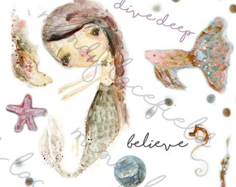 Mermaids collage sheets - by Mindy Lacefield