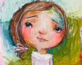 Sisley - mixed media art print by Mindy Lacefield