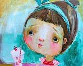 Strawberry Cream Soda - mixed media art print by Mindy Lacefield