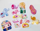 Elephant sticker sheet and 4 die cuts