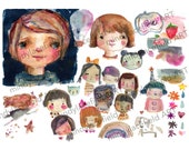 cute lil people collage sheet - by Mindy Lacefield