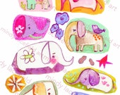 Cute Elephants collage sheet - by Mindy Lacefield