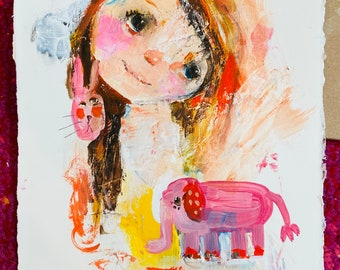 Pink Elephant, Pink Bunny - original 8x10 on watercolor paper