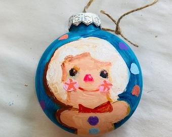 """Gingerbread boy - 3"""" original ornament"""
