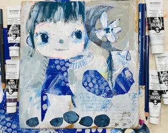 "Indigo Moon Flower - original 8x10"" painting"