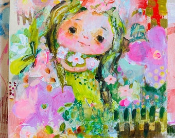 BellaRose - original 10x10 painting WALL ART