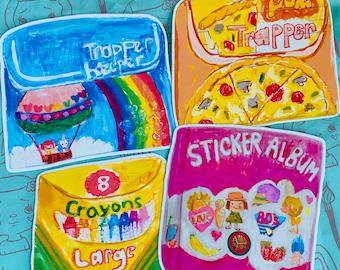 80's child sticker set  - 4 vinyl stickers