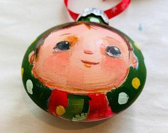 """Stocking - 3"""" original ornament"""