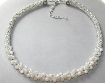White Wedding Kumihimo Necklace