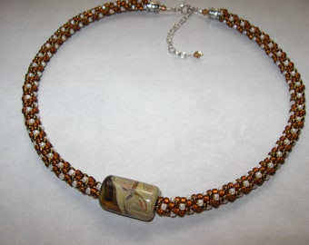 Cocoa and Cream Kumihimo Necklace
