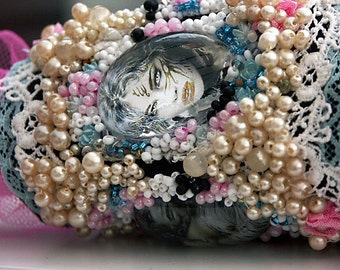 Women's Wrist Cuff Vintage Lace and  Pearl Bracelet Bangle, Fantasy Gothic Art wrist Wrap - Don't Give Me Too Much Of That  Snow  White