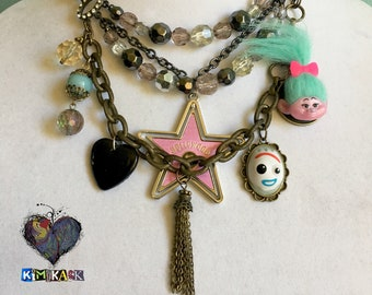 Nuisance Necklace Original Assemblage Statement Charm Necklace Troll Doll (Trolls) & Pink Hollywood Star Forky (from Toy Story) Black Heart