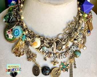 Nuisance Necklace Original Assemblage Statement Charm Necklace Choker Around the World in a Day
