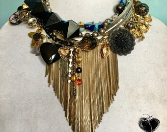 Nuisance Necklace Midnight in Hollywood Choker Bib Punk Chains Charm Black Metal Gold Layered Assemblage Statement Punk