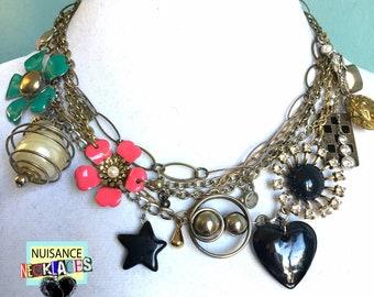 Nuisance Necklace Original Assemblage Statement Charm Necklace Choker Black Star Heart Flowers Punk Chains