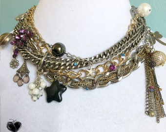Nuisance Necklace Original Assemblage Statement Charm Necklace Choker Black Star Dragonfly Punk Chains