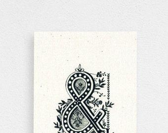 Hand Drawn Original Monogram Art / No Frame / Made to Order