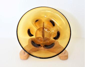Vintage Handmade Amber Bullicante Art Glass Bowl, Large Pulegoso Glass Bowl, Vintage Cognac Glass Dish, 12 Inch Handmade Art Glass Bowl