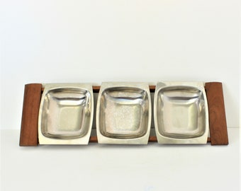 Vintage Mid Century Modern Wood and Stainless Steel 3 Tray Server with stand, 3 removable trays, Vintage Teak Wood and Stainless Steel Tray