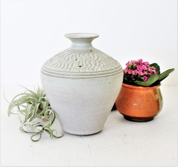 Studio/ Handcrafted Pottery Vintage Studio Pottery Round Pot Vase Mid Century Modern Mcm Earth Tones