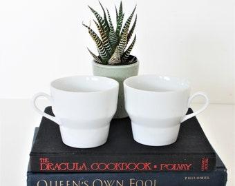 Vintage Paul McCobb Contempri White Coffee Cups, Paul McCobb Stacking Cups, McCobb Coffee Cups, Vintage White McCobb Mugs