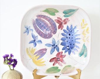 Vintage Arabia Finland ARA Rare Mid Century Scandinavian Pottery, Arabia Floral Square dish, Vintage Finland Wall Decor, Hand Painted Dish