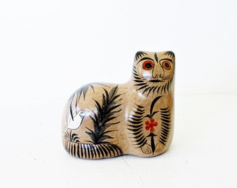 Mexican Cat Figurine, Vintage Mexican Folk Art Cat Figurine, Mexican Cat Ceramic Figurine, Tonala Cat, Mexican Folk Art Tonala Cat figurine