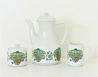 Vintage Flower Cart Teapot, Sugar Bowl, Creamer, Made in Japan, Vintage Teapot, Creamer and Lidded Sugar Bowl, Midcentury  Tea set