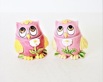 Vintage Pink Owl Potpourri Atomizer Set, Ceramic Pink Owl Salt and Pepper Shakers, Owl Collector, Bird Decor, Owl Diffuser set, Pink Owl Set