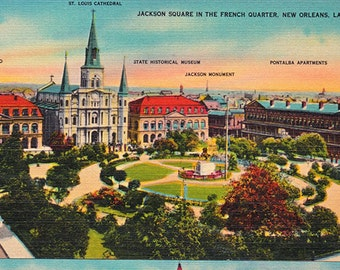vintage postcards of New Orleans, printable digital download, collage sheet no. 500