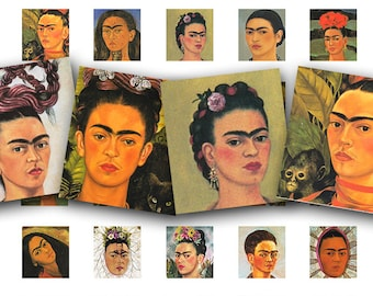 Frida Kahlo collage sheet, scrabble tile size,  vintage printable digital collage sheet no. 428.