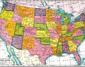 Unites States map from the 1930's, a printable digital download no. 1488