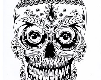 Items similar to five different sugar skull tattoo coloring ...