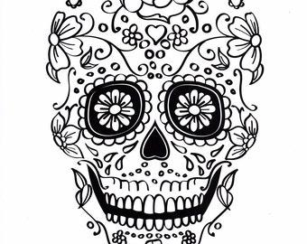 Sugar Skull Coloring Etsy