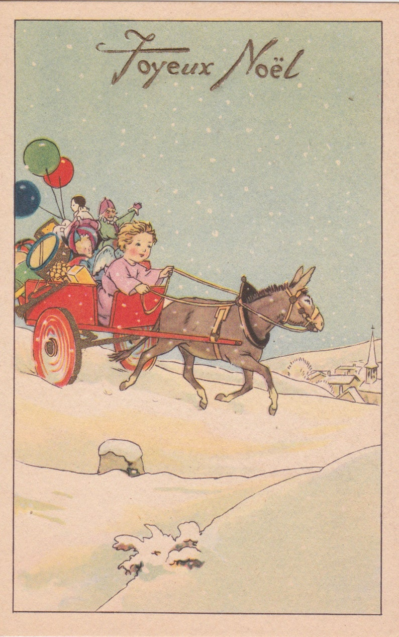French Art Deco Christmas Card With An Angel Baby Riding In A Etsy