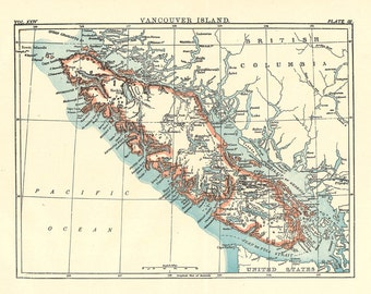 map of Vancouver Island from a 1904 Encyclopedia Britannica, a printable digital map no. 160