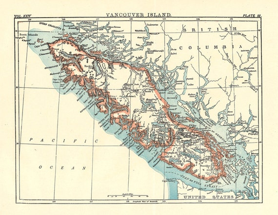 map of Vancouver Island from a 1904 Encyclopedia Britannica a | Etsy