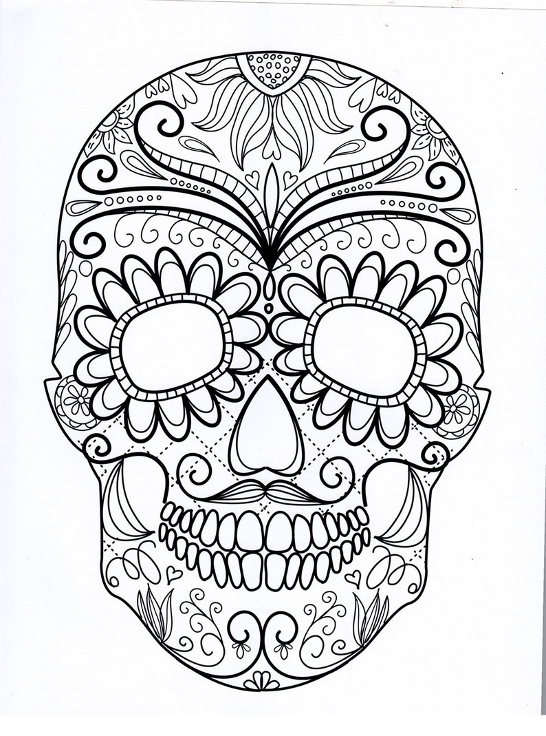 Sugar skull coloring pages five different printable ...