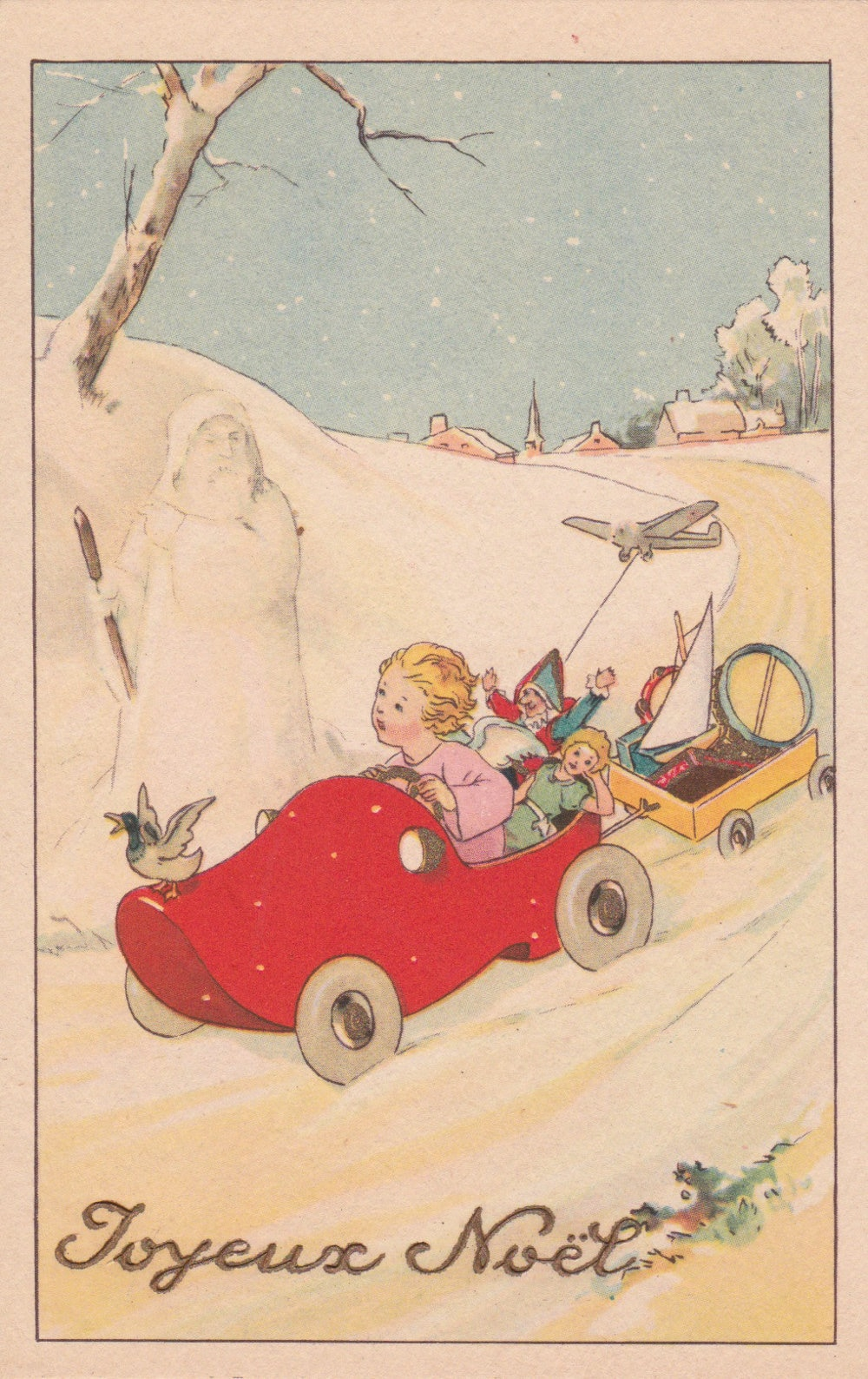 Art Deco French Christmas Postcard An Angel Baby Riding A Car Etsy