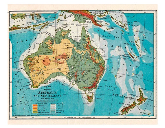 Australia Map New Zealand.Map Of Australia And New Zealand From A 1916 Geography Book Etsy