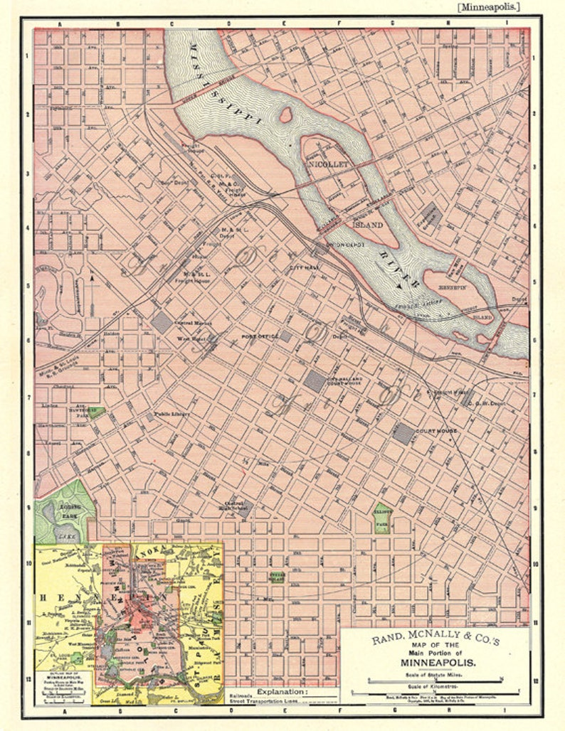 Map of Minneapolis Minnesota a printable mapfor home decor | Etsy