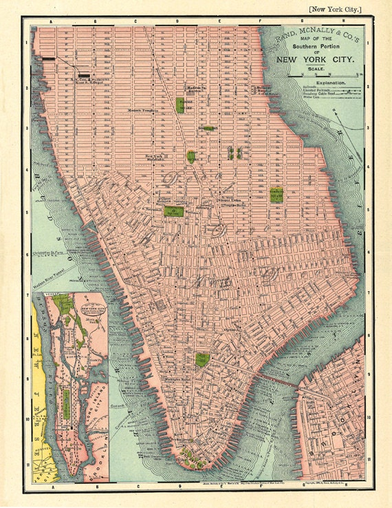This is an image of Printable Map of Manhattan for basic