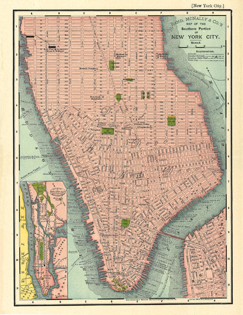 Map Of Southern New York.Map Of Southern Manhattan A Vintage Printable Map Digital Image No 671