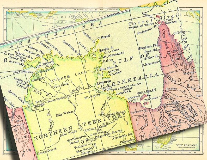 Map Of Australia New Zealand And Tasmania Printable Digital Collage Sheet No 748