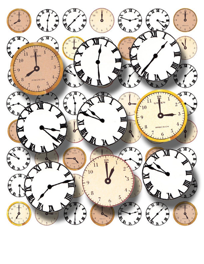 old clocks and watch faces, printable digital download, collage sheet no   1019