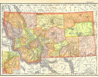 old map of Montana from 1904, instant download, detailed and colorful digital map. no. 764