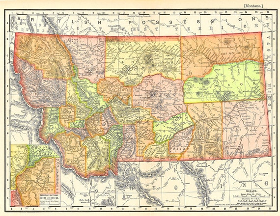 old map of Montana from 1904 instant download detailed and | Etsy