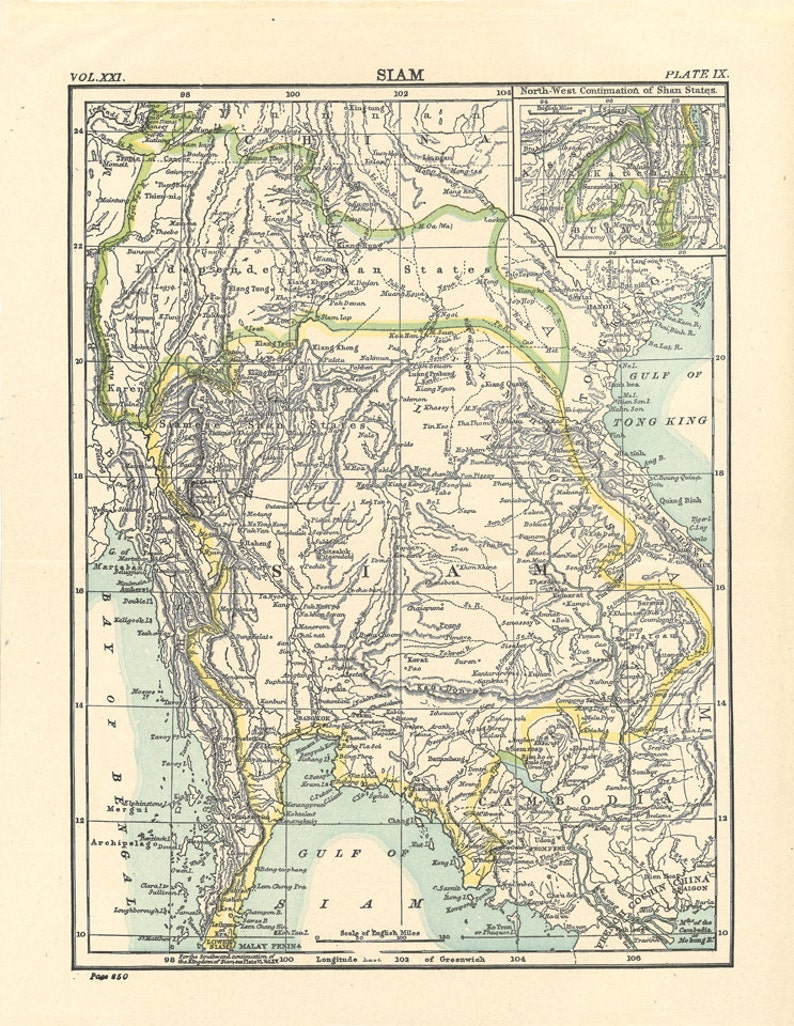 image relating to Printable Map of Thailand known as outdated map of Thailand, (Siam), printable map, electronic down load no. 339